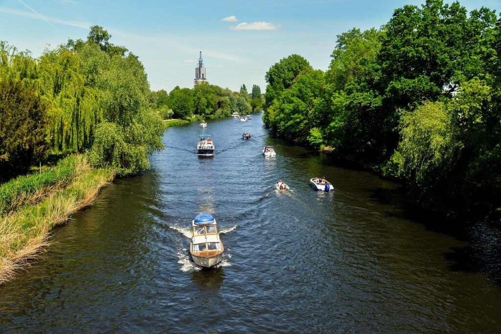 river, landscape, boats